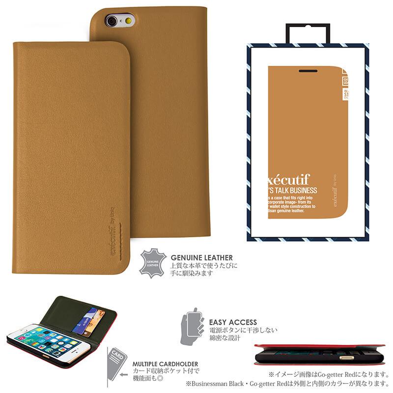 【Uniq】iPhone6/Executif/ Diligent Camel(表面: Geniune Leather 本革)(裏面:ポリカーボネート)