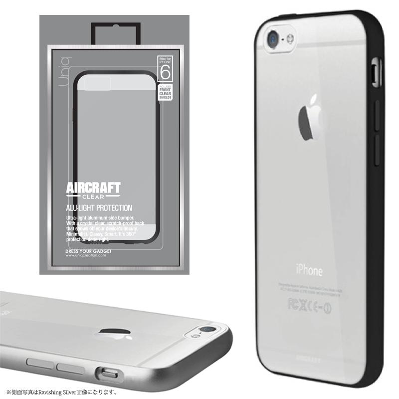 【Uniq】iPhone6/Aircraft Clear/Metal Black(側面:アルミニウムバンパー)(背面:TPU)