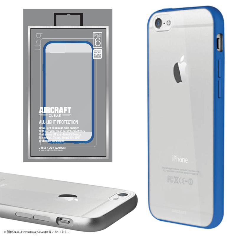 【Uniq】iPhone6/Aircraft Clear/Electric Blue(側面:アルミニウムバンパー)(背面:TPU)