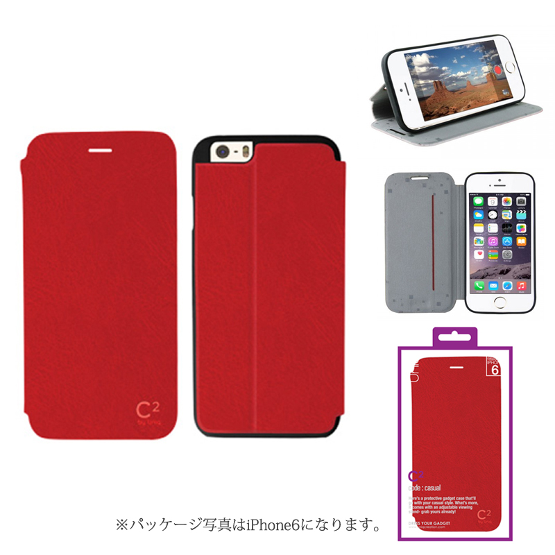 【Uniq】iPhone 6Plus/C2/Cool In Red(表面:PUレザー 合皮)(裏面:TPU)