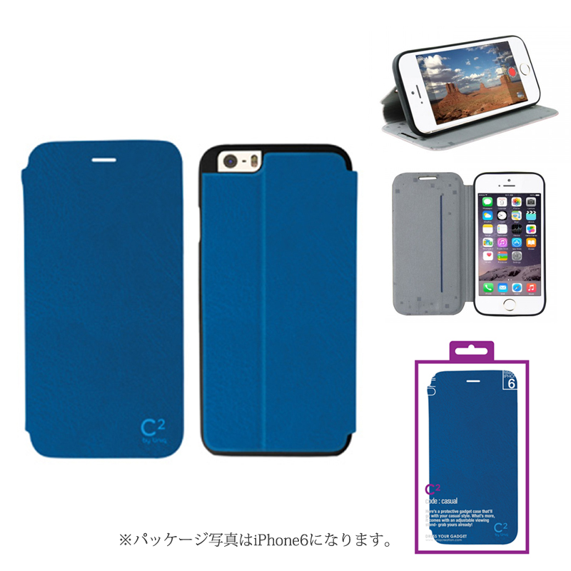【Uniq】iPhone 6Plus/C2/Blue Chillout(表面:PUレザー 合皮)(裏面:TPU)