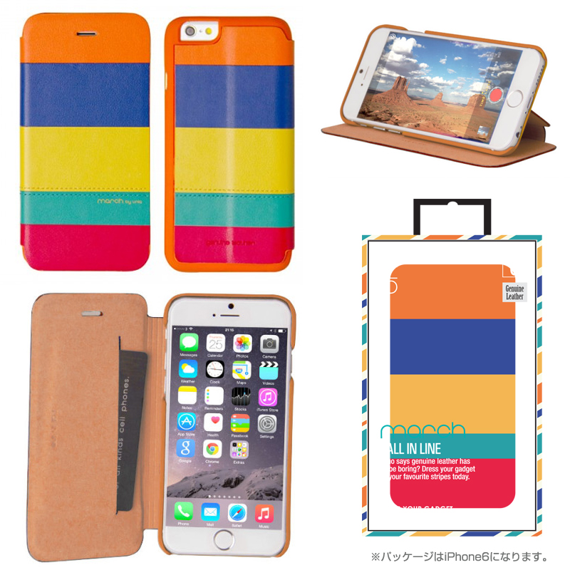 【Uniq】iPhone 6Plus/March/ Ethnic Infusion(表面: Geniune Leather 本革)(裏面:ポリカーボネート)
