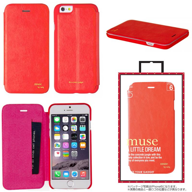 【Uniq】iPhone 6Plus/Muse/ Coral Thrill(表面:PUレザー 合皮)(裏面:ポリカーボネート)