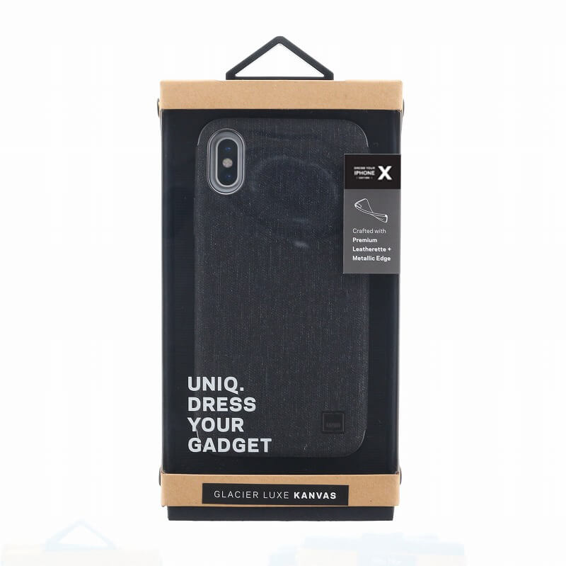 iPhone XS/iPhone X シェル型ケース/メタルソフトPU/Glacier Luxe Kanvas/Tux(Black)