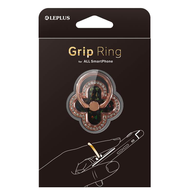 スマートフォン(汎用) スマートフォンリング 「Grip Ring」 【Four Leaf Clover】  ブラック