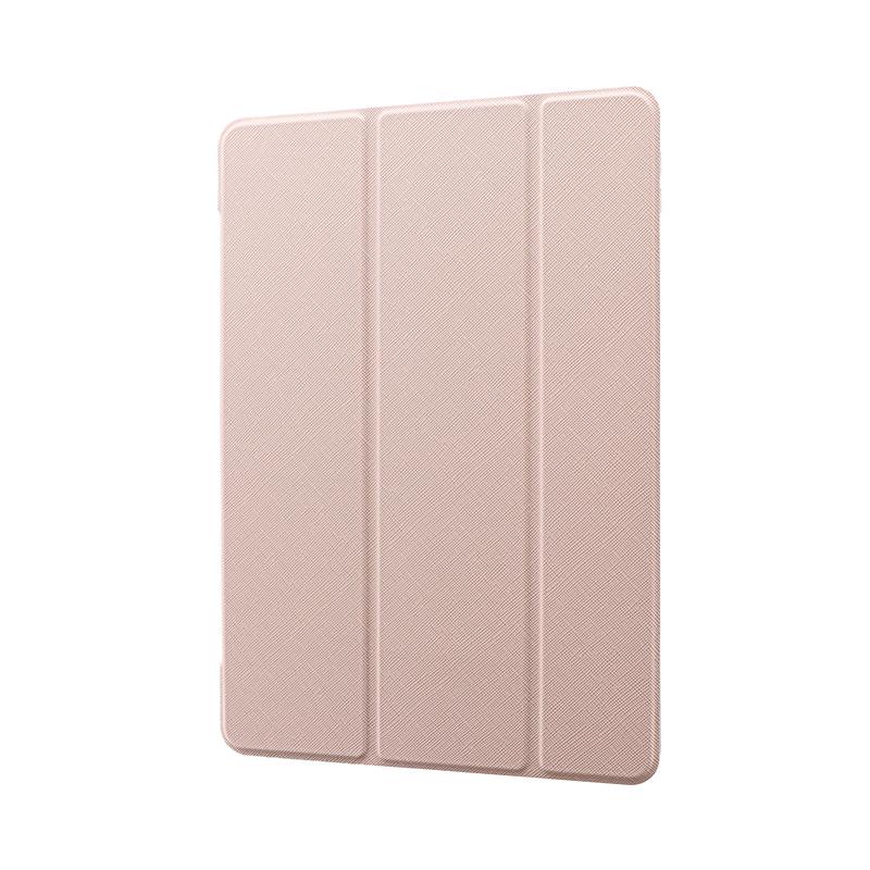 iPad 2020 (10.2inch)/iPad 2019 (10.2inch) 背面クリアフラップケース「Clear Note」 ピンクベージュ