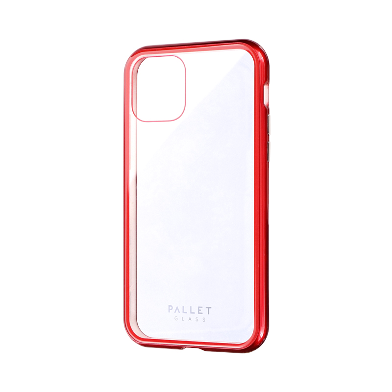 iPhone 11 Pro ガラスハイブリッドケース「SHELL GLASS COLOR」 クリアレッド