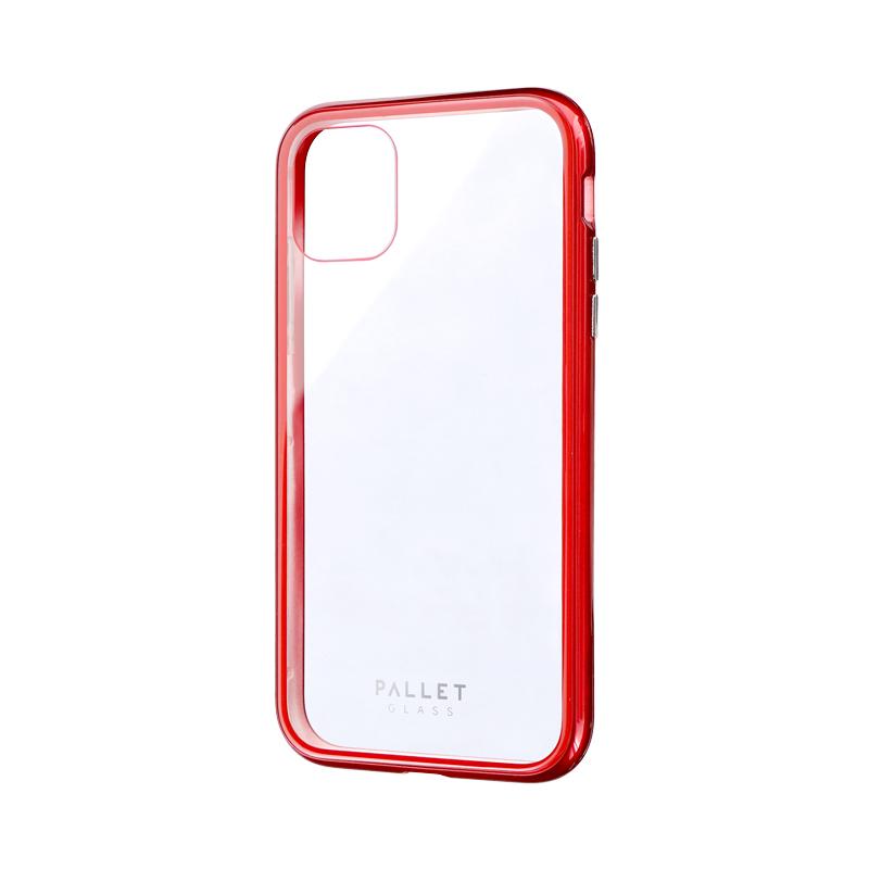 iPhone 11 ガラスハイブリッドケース「SHELL GLASS COLOR」 クリアレッド