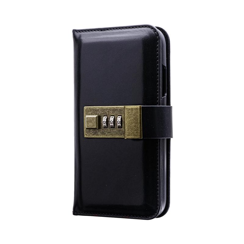 iPhone 11 ロック機能搭載PUレザーブックケース「NUMBER LOCK」 ブラック