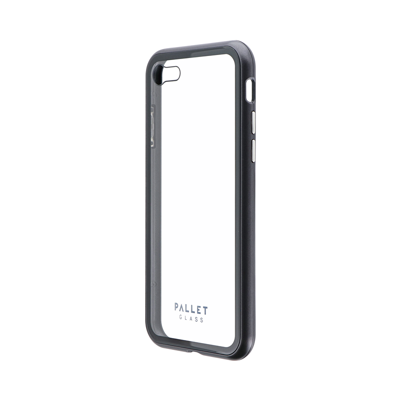 iPhone SE (第2世代)/8/7 ガラスハイブリッドケース「PALLET GLASS」 クリアスペースグレー