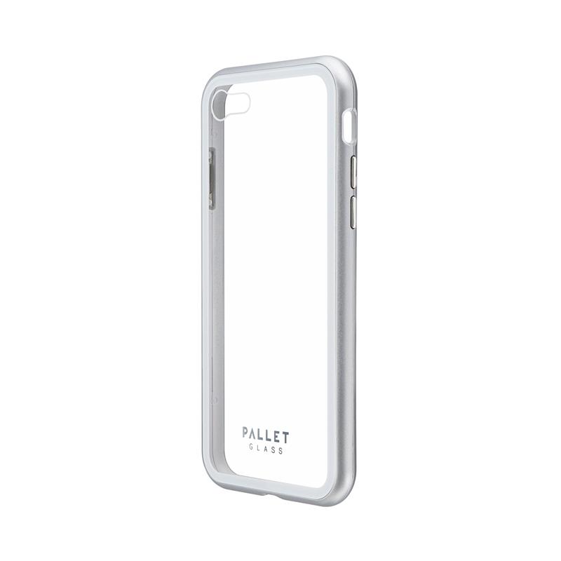 iPhone SE (第2世代)/8/7 ガラスハイブリッドケース「PALLET GLASS」 クリアシルバー