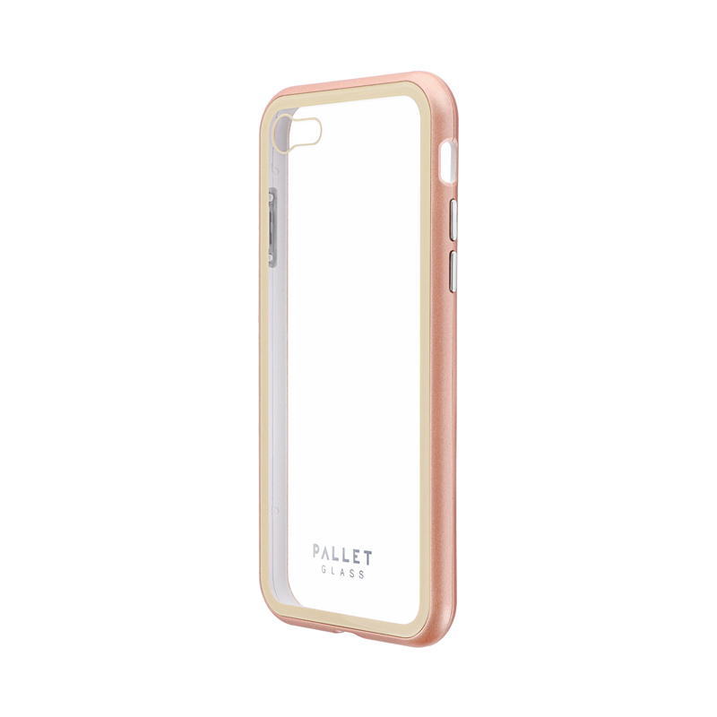 iPhone SE (第2世代)/8/7 ガラスハイブリッドケース「PALLET GLASS」 クリアゴールド