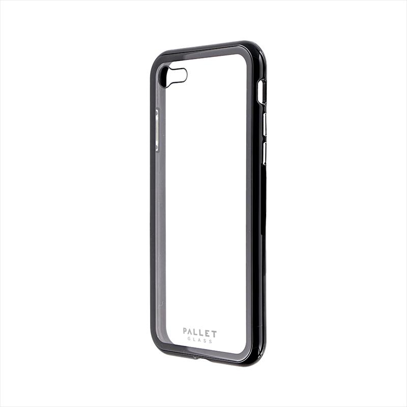 iPhone SE (第2世代)/8/7 ガラスハイブリッドケース「PALLET GLASS」 クリアブラック