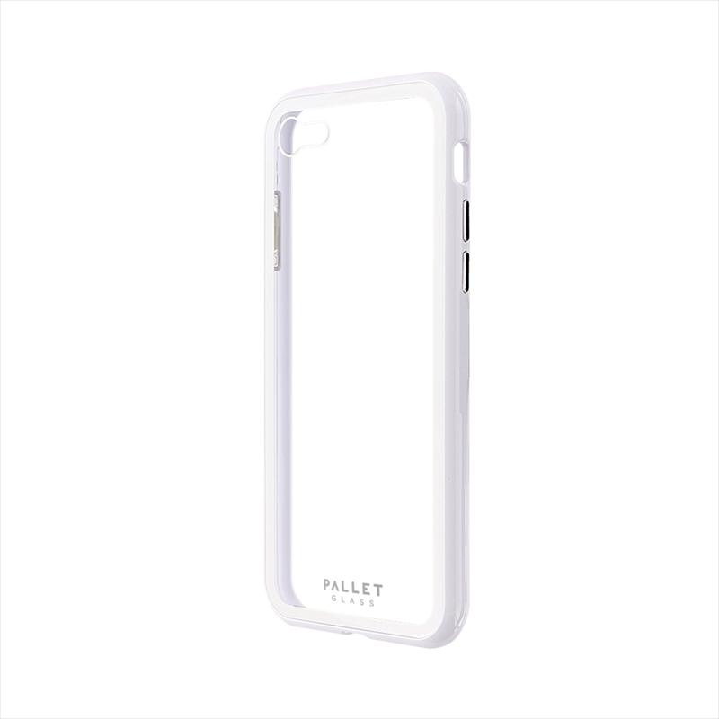 iPhone SE (第2世代)/8/7 ガラスハイブリッドケース「PALLET GLASS」 クリアホワイト