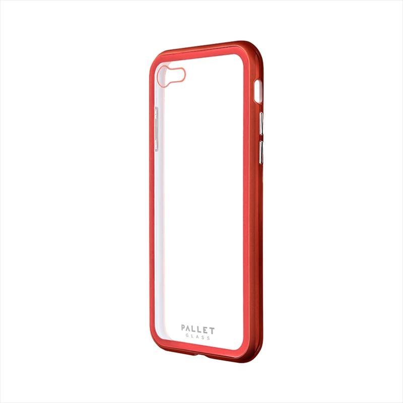iPhone SE (第2世代)/8/7 ガラスハイブリッドケース「PALLET GLASS」 クリアレッド