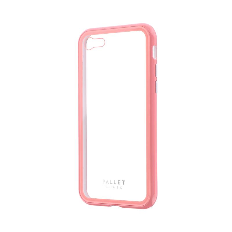 iPhone 8/7 ガラスハイブリッドケース「PALLET GLASS」 クリアピンク