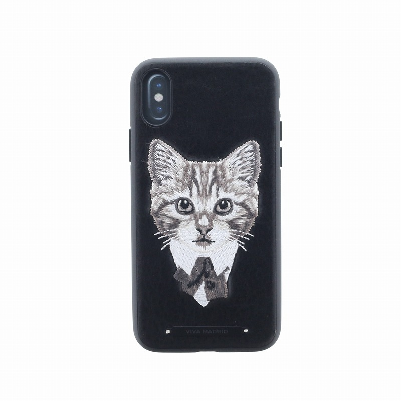 iPhone X/シェル型ケース/刺繍/Culto Collection/Feline Fine