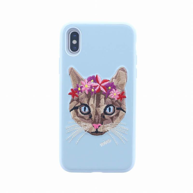 iPhone XS/iPhone X シェル型ケース/刺繍/Corona Collection/Feline