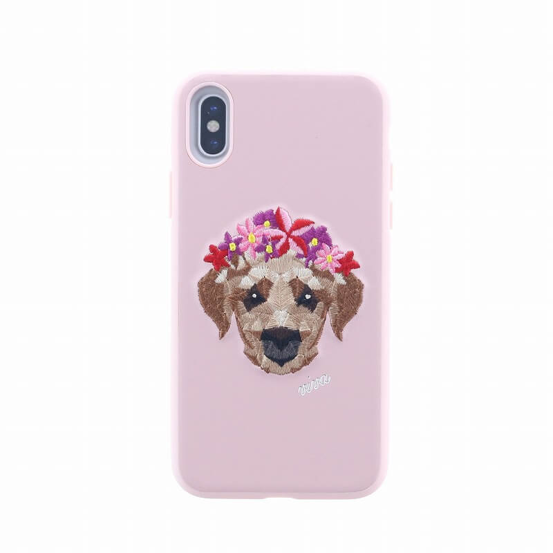 iPhone XS/iPhone X シェル型ケース/刺繍/Corona Collection/Puppy