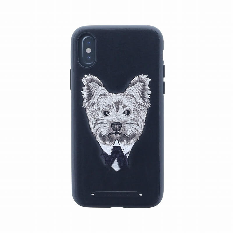 iPhone XS/iPhone X シェル型ケース/刺繍/Cuelo Collection/Silky Terrier