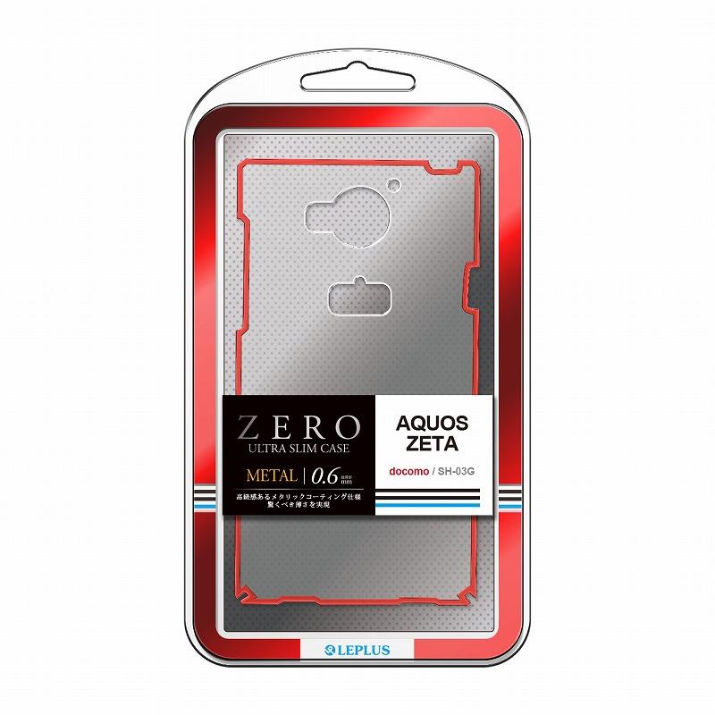 AQUOS ZETA SH-03G 超極薄ハードケース「ZERO METAL」 クリア&レッド
