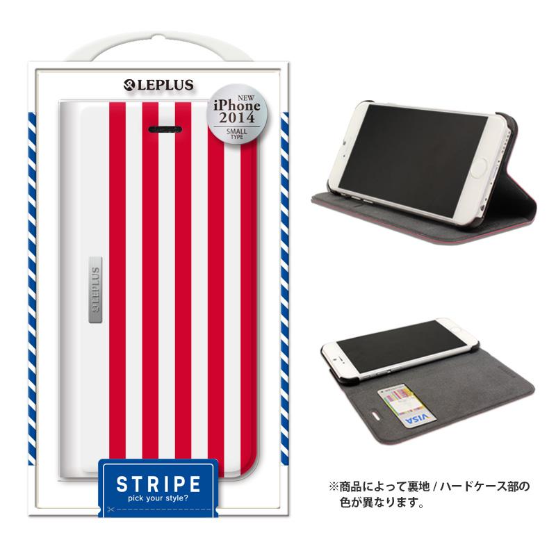 iPhone 6_6S [STRIPE] デザインPUレザーカバー レッド