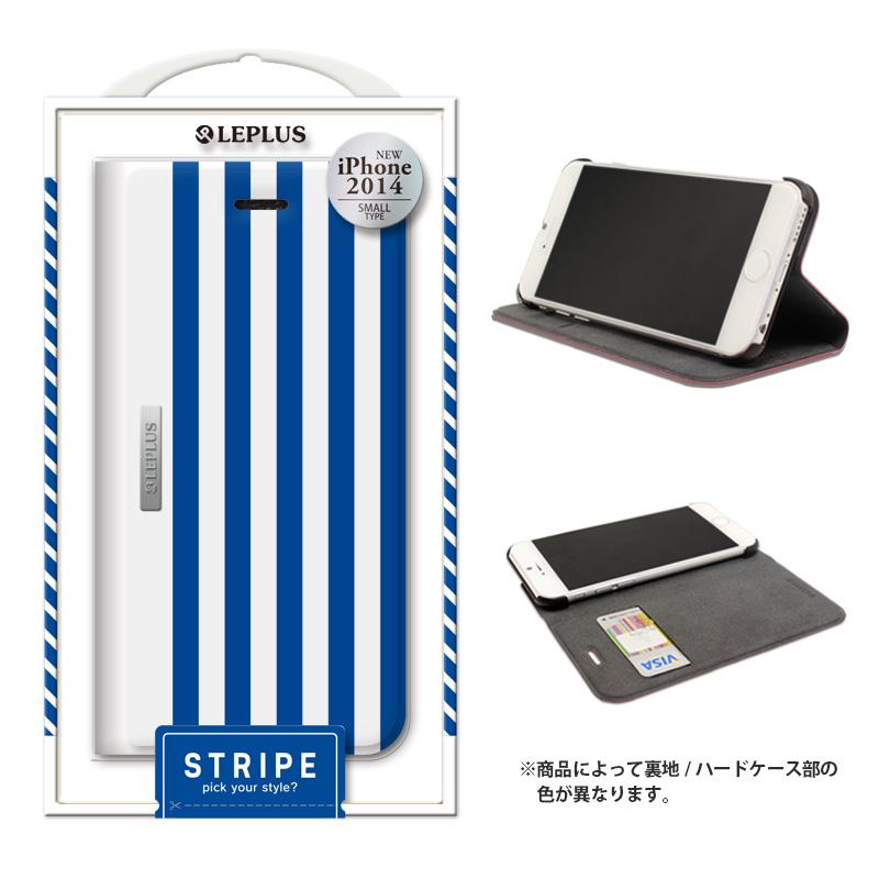 iPhone 6_6S [STRIPE] デザインPUレザーカバー ブルー