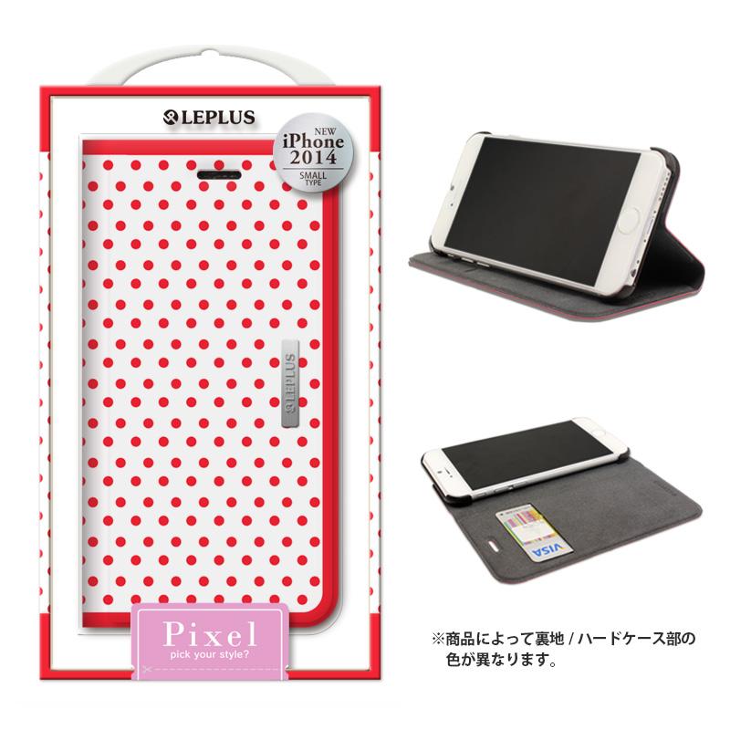 iPhone 6_6S [PIXEL] デザインPUレザーカバー レッド