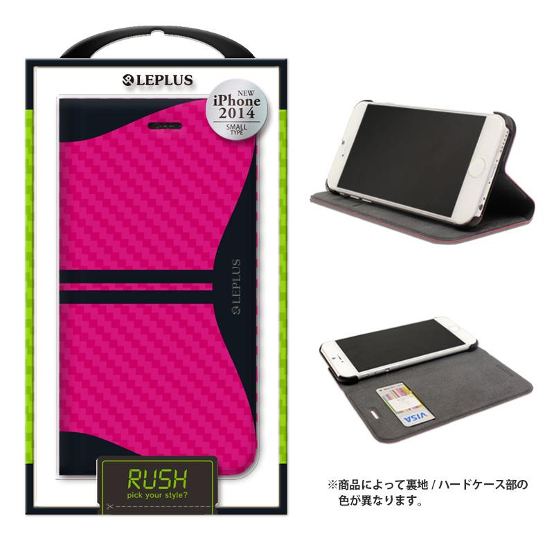 iPhone 6_6S [RUSH] デザインPUレザーカバー ピンク