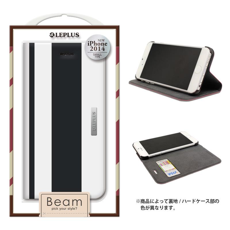 iPhone 6 [BEAM] デザインPUレザーカバー ブラック