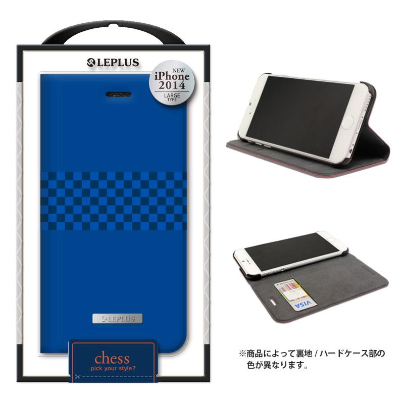 iPhone 6 Plus [CHESS] デザインPUレザーカバー ブルー