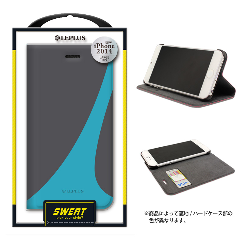 iPhone 6 Plus [SWEAT] デザインPUレザーカバー ブルー