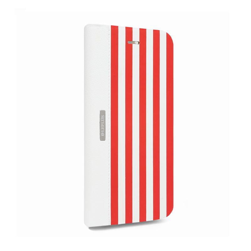 □iPhone 6 Plus/6s Plus [STRIPE] デザインPUレザーカバー レッド