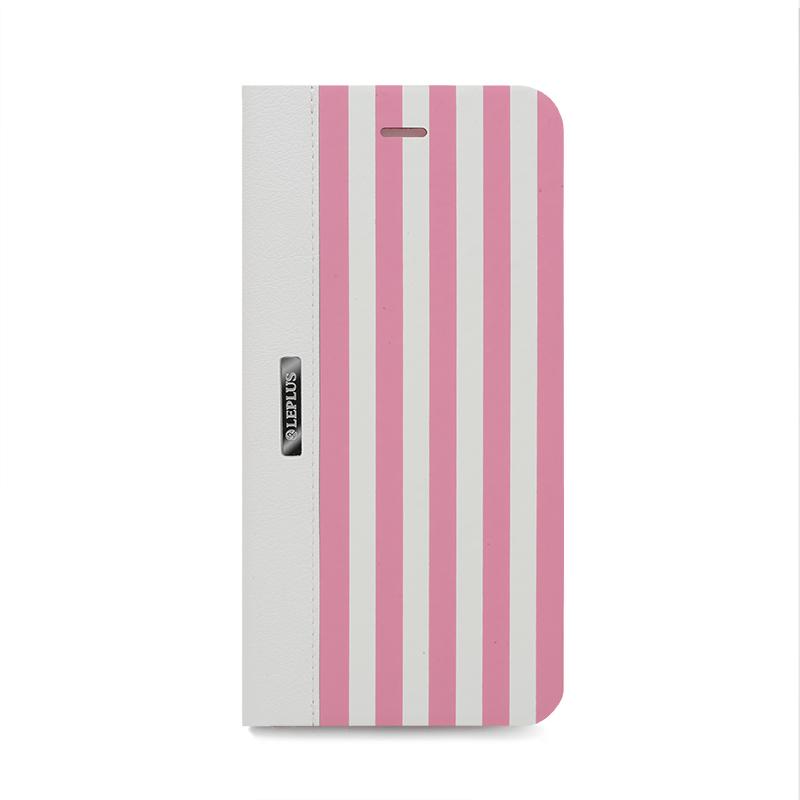 □iPhone 6 Plus/6s Plus [STRIPE] デザインPUレザーカバー ピンク
