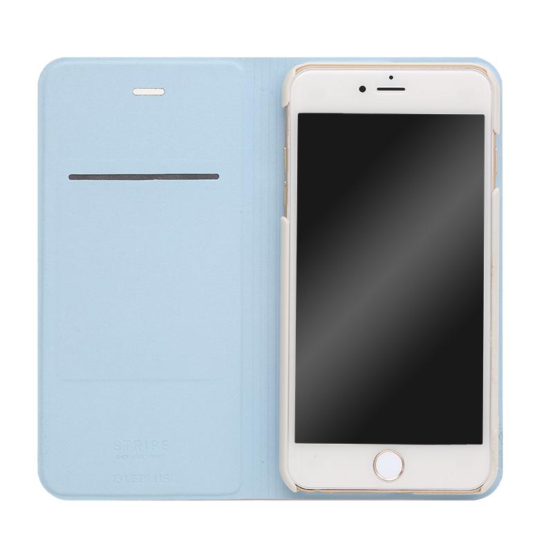□iPhone 6 Plus/6s Plus [STRIPE] デザインPUレザーカバー ブルー