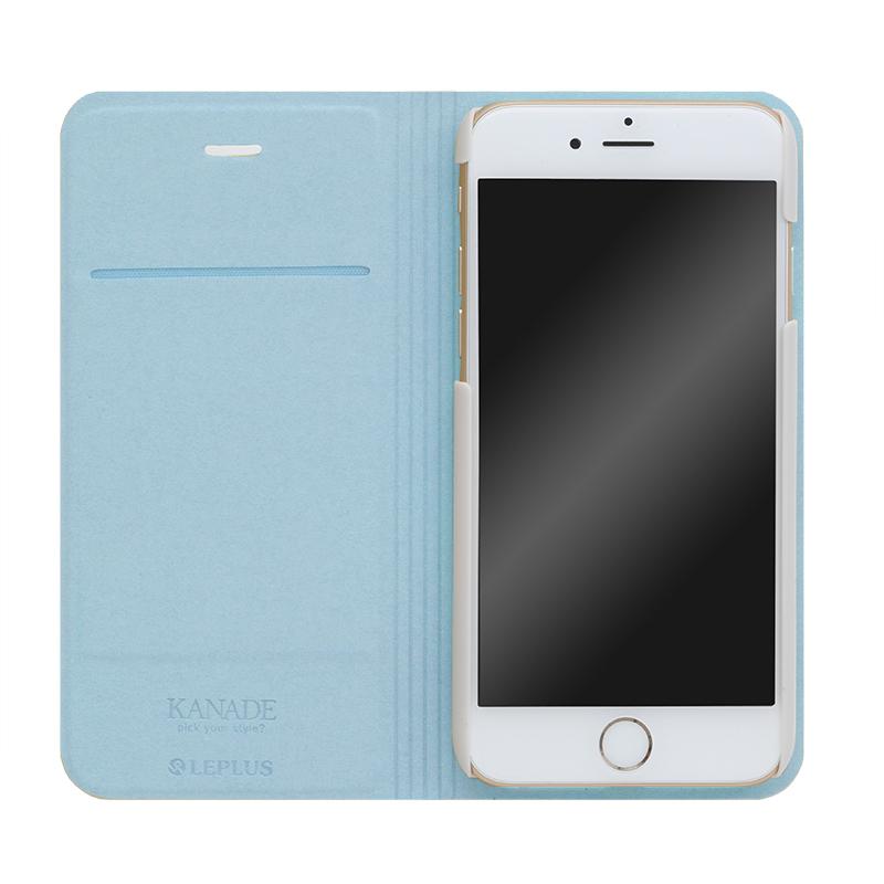 □iPhone 6 Plus/6s Plus [KANADE] デザインPUレザーカバー ブルー