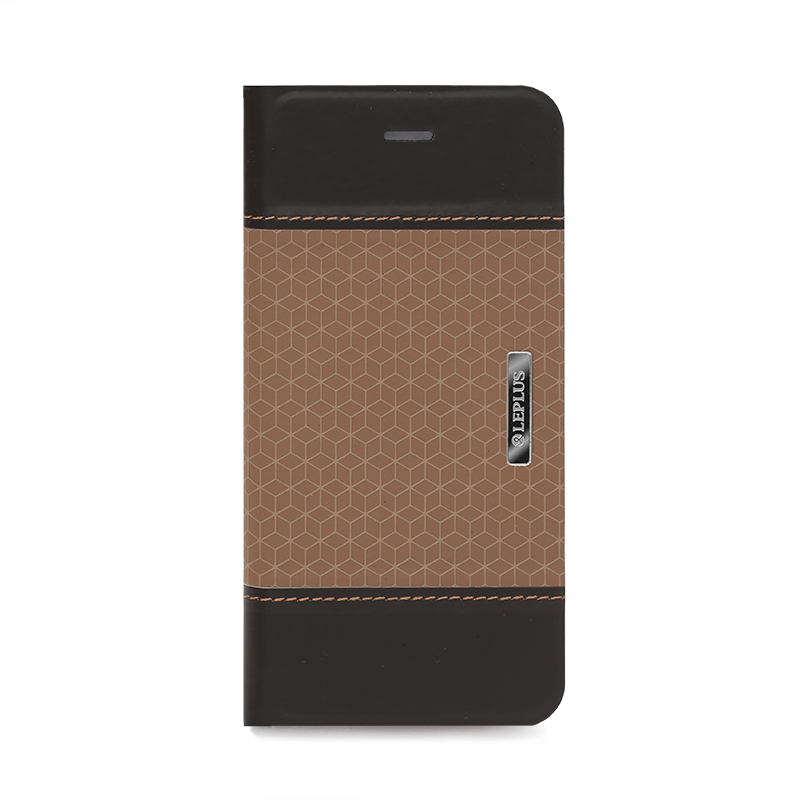 □iPhone 6 Plus/6s Plus [LIGHT CUBE] デザインPUレザーカバー ブラウン