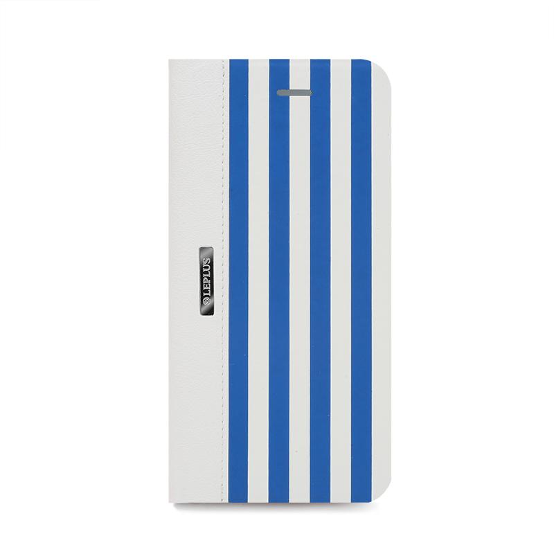 □iPhone 6/6s [STRIPE] デザインPUレザーカバー ブルー