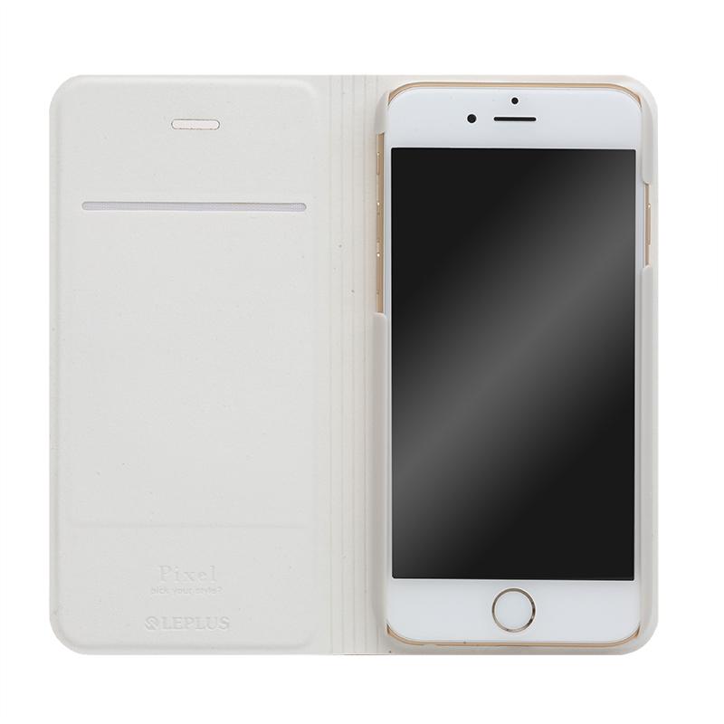 □iPhone 6/6s [PIXEL] デザインPUレザーカバー ブルー