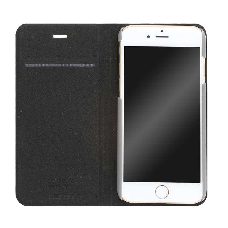 □iPhone 6/6s [LIGHT CUBE] デザインPUレザーカバー ブラック
