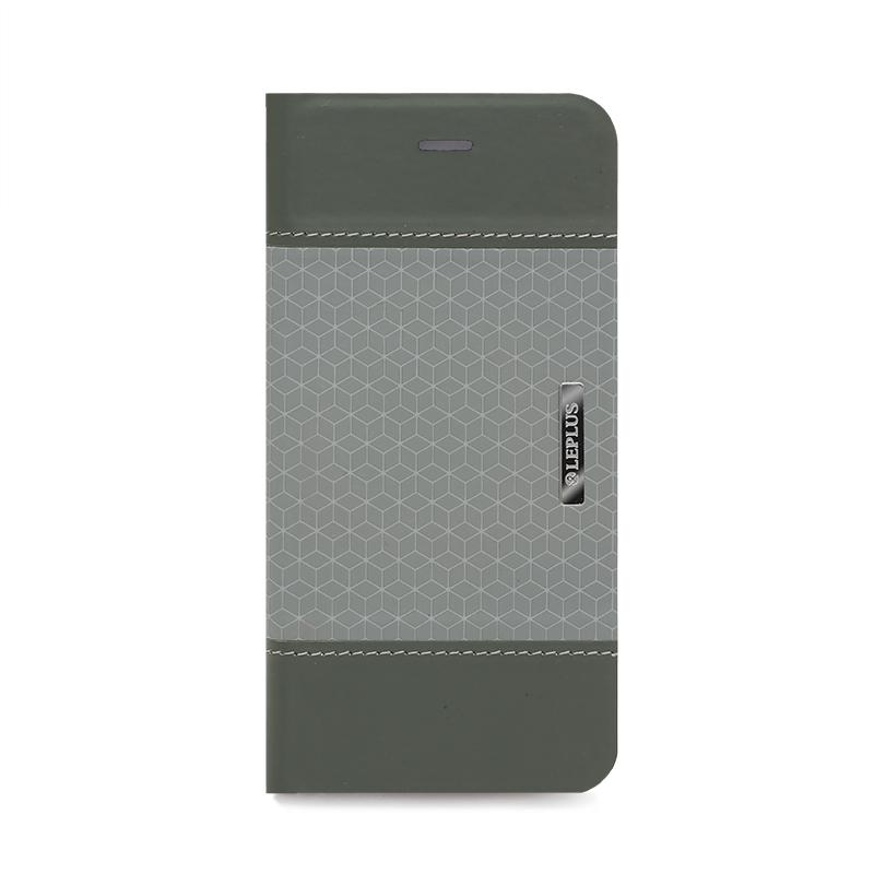 □iPhone 6/6s [LIGHT CUBE] デザインPUレザーカバー グレー