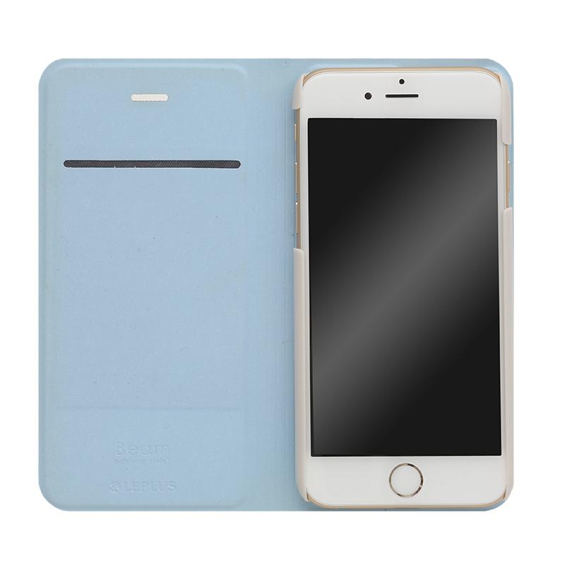 □iPhone 6/6s [BEAM] デザインPUレザーカバー ブルー