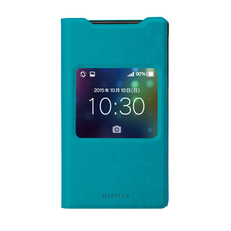AQUOS ZETA SH-01H/AQUOS Xx2 窓付きPUレザーケース「PRIME Window」 ブルー