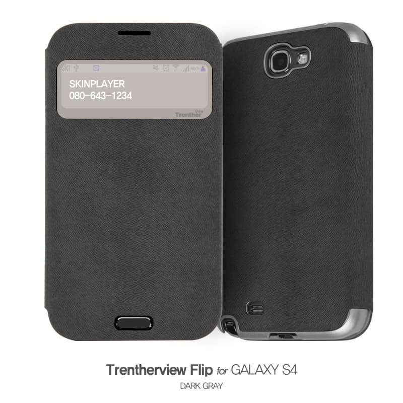 Trenther View Flip for Galaxy S4 ダークグレー