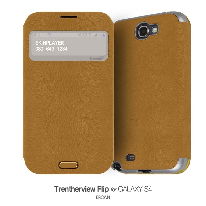 Trenther View Flip for Galaxy S4 ブラウン