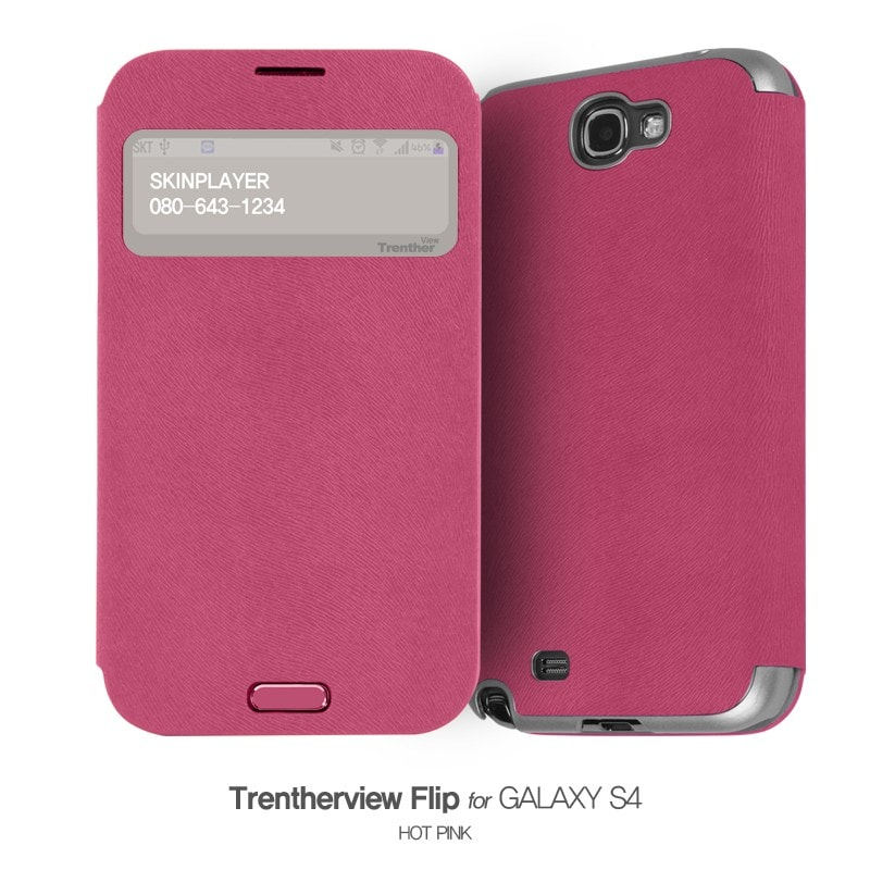 Trenther View Flip for Galaxy S4 ホットピンク