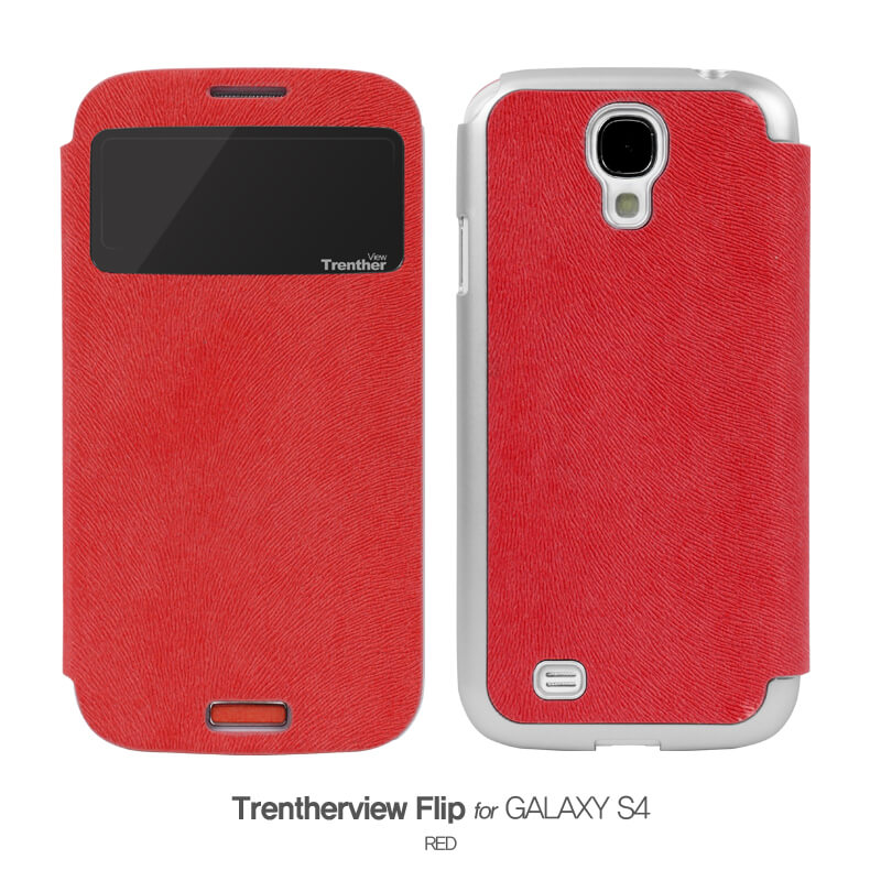 Trenther View Flip for Galaxy S4 レッド