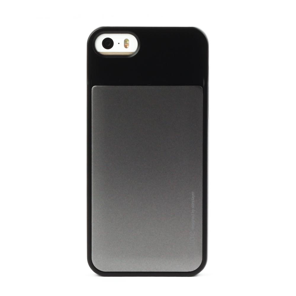 iPhone 5/5s対応 カード収納薄型ケース iSlide Black + Titanium
