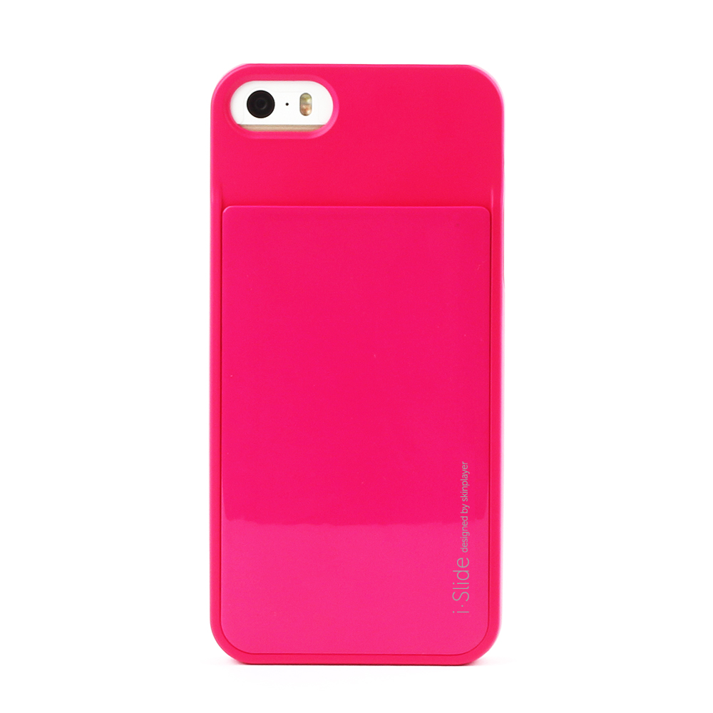iPhone SE/5S/5対応 カード収納薄型ケース iSlide Hot Pink + Hot Pink