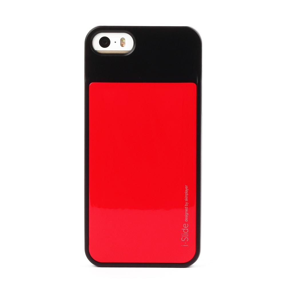 iPhone 5/5s対応 カード収納薄型ケース iSlide Black + Red